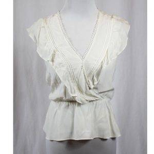 Parker Small Ivory Frill Peplum Wrap Satin Top